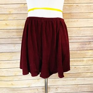 Brandy Melville Burgundy Red Faux Suede Mini Skirt